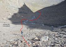 Zona dónde se unen el torrente que viene del glaciar Lombard y el que viene del collado Lombard.