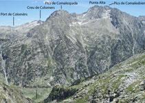 Vistas al E: Punta Alta, Creu de Colomers, lago Negro, Agulles de Travessani, Tuc deth Port ...