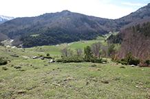 Al fondo del valle reconocemos la carretera que va de Zuriza a Linza.