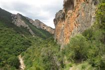 Vistas al NO del Barranc del Bosc y curiosas cuevas al fondo.
