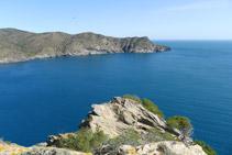 Punta de la Trona, en primer término, y bahía de Jóncols y punta de la Reparadora al fondo.