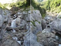 El río Cinca coge impulso en el curso medio del barranco de los Churros, visto aquí desde el puente que lo atraviesa.