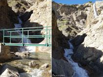 Vistas del puente y del segundo nivel de la cascada del Cinca.