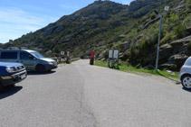 Aparcamiento que hay al final de la carretera de acceso al monasterio de Sant Pere de Rodes.