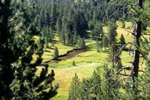"""Valle de fondo plano afectado por un proceso de rellenado de sedimentos, con el río formando las """"aguas torcidas""""."""