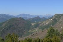 Vistas de la sierra de Ensija y del Pedraforca.