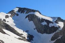 Pico Posets. A la izquierda del pico: final de la cresta de Espadas. A la derecha del pico: vía normal de ascenso al Posets.