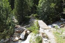 Cruzamos el barranco de Llubriqueto gracias a un pequeño puente de madera.