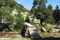 Infraestructura y puente para cruzar el río de Llubriqueto, al fondo la cabaña.