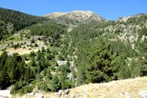 Desde la otra vertiente del valle de Sant Martí tenemos una buena panorámica del barranco del Pessó.