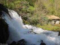 Salto de agua del Bastareny visto desde su orilla.