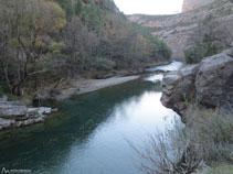 Río Noguera Pallaresa con el cable para atravesarlo.