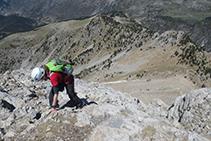 Llegando a la cima Norte del Pedraforca.