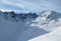 Coma, circo y pico de Pedrons, en un paisaje típico invernal.