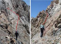 Escapatoria del Paso del Caballo por la vertiente S. Habrá que extremar la atención pues la roca está un poco descompuesta.