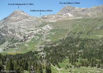 En dirección N tenemos unas bonitas vistas al Salbaguardia, al Portillón de Benasque y al pico de la Mina.