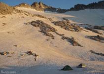 Acampamos justo a los pies del glaciar de la Maladeta.