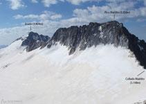 Vistas desde el collado: el Aneto, el Maldito y toda la extensión glaciar.