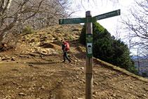 Poste indicador justo en el collado de debajo de la cima del Puigsacalm.