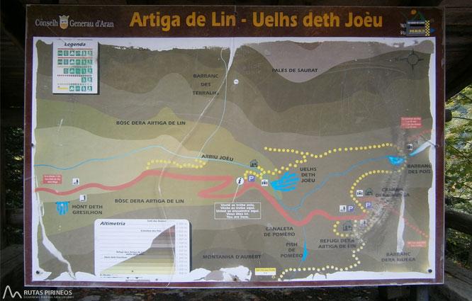 Mapa de la ruta de Artiga de Lin y Uelhs deth Joèu