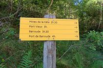 Señalización vertical indicándonos los tiempos de acceso a diferentes localizaciones dentro del valle de Géla.