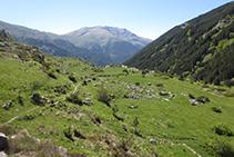 Mirada atrás, al fondo distinguimos el amplio collado del Triador, divisoria de aguas entre la Vall Fosca y el valle de Àssua.