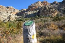 Una estaca de madera con una señal amarilla nos indica el camino.